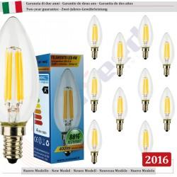 SunSeed, 10 X E14 4W LAMPADINA LED CANDELA C35 A FILAMENTO LED IN ZAFFIRO SINTETICO Luce calda 2700K 400 Lumen 300° Driver IC