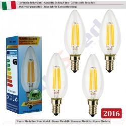4 X LampadinaCandela SunSeed 4W a Filamento LED in Zaffiro Sintetico E14 Luce Calda 2700K