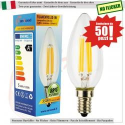 50 X LampadinaCandela SunSeed 5W a Filamento LED in Zaffiro Sintetico E14 Luce Calda 2700K