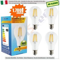 4 X Lampada Goccia SunSeed 12W a Filamento LED E27 Luce Naturale 4000K 1700 lumen