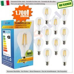 10 X Lampada Goccia SunSeed 12W a Filamento LED E27 Luce Naturale 4000K 1700 lumen
