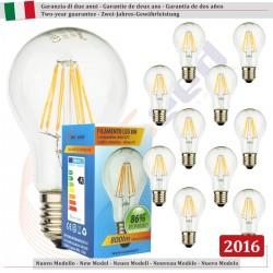 10 X Lampadina Goccia SunSeed 8W a Filamento LED E27 Luce Calda 2700K