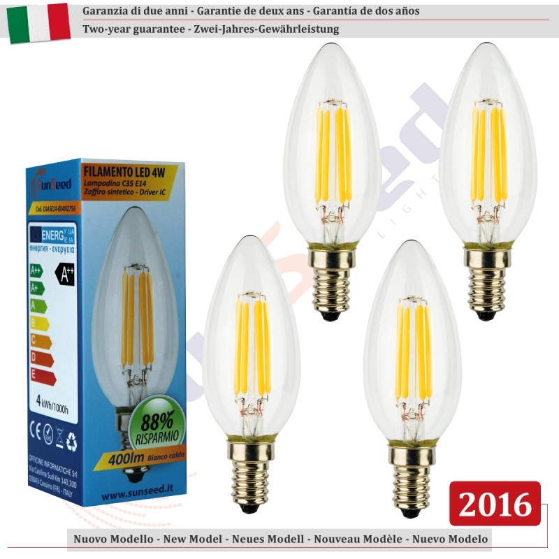 Sunseed 4 x lampada candela 4w e14 a filamento led luce for Lampadine al led luce calda