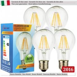 4 X Lampada Goccia SunSeed 8W a Filamento LED E27 Luce Calda 2700K
