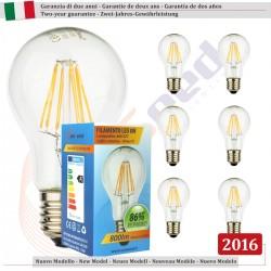 6 X Lampadina Goccia SunSeed 8W a Filamento LED E27 Luce Calda 2700K