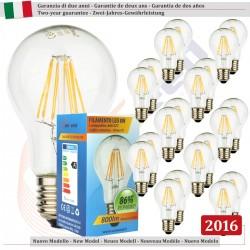 20 X Lampadina Goccia SunSeed 8W a Filamento LED E27 Luce Calda 2700K
