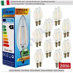20 X LampadinaCandela SunSeed 2W a Filamento LED in Zaffiro Sintetico E14 Luce Calda 2700K