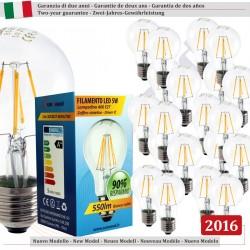 20 X Lampadina Goccia SunSeed 5W a Filamento LED in Zaffiro Sintetico E27 Luce Calda 2700K