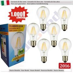 6 X Lampada Goccia SunSeed 9W a Filamento LED E27 Luce Calda 2700K
