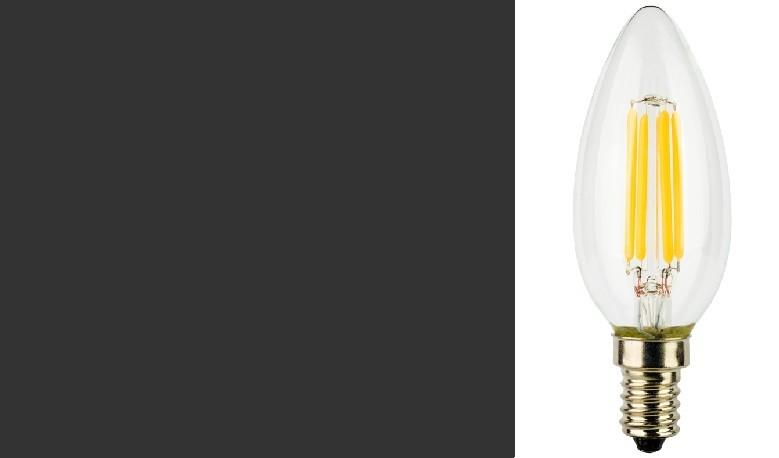 LampadIne Candela E14 a Filamento LED in Zaffiro Sintetico